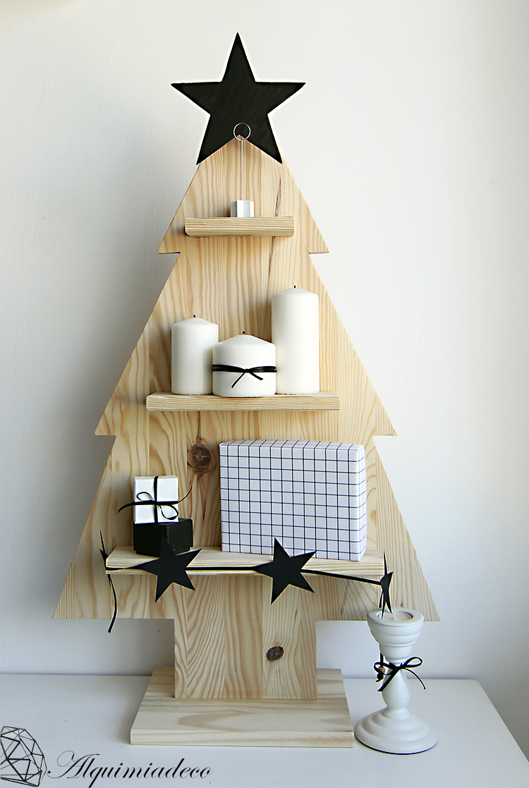 Diy arbol de navidad de madera alquimia deco for Decoracion para pared vintage