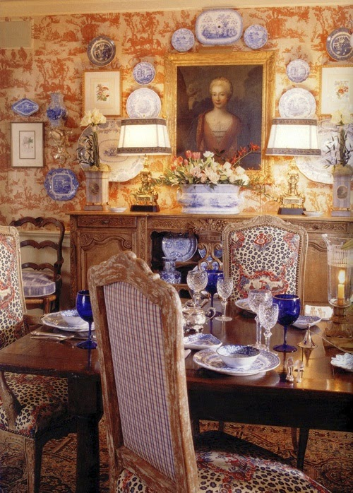 I Hope To Paper The Dining Room In This House And Create A Similar Look And  Feel Again. Faudree Combined Red Toile And Blue Transferware A Lot In His  ...
