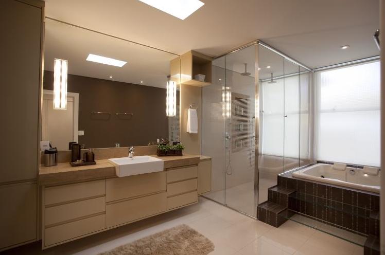 Banheiros com Banheiras! 30 Modelos maravilhosos!  Decor Salteado  Blog de  -> Banheiro Pequeno Piso Grande