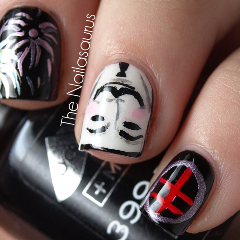 Day 23: Inspired by a Movie (V For Vendetta Nail Art)