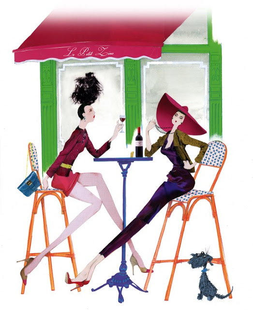 illustration of two women drinking wine on a paris terrace