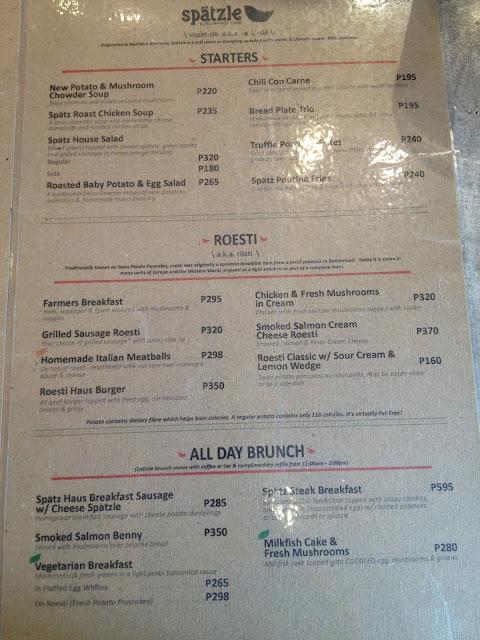 Spätzle Euro Market Café menu
