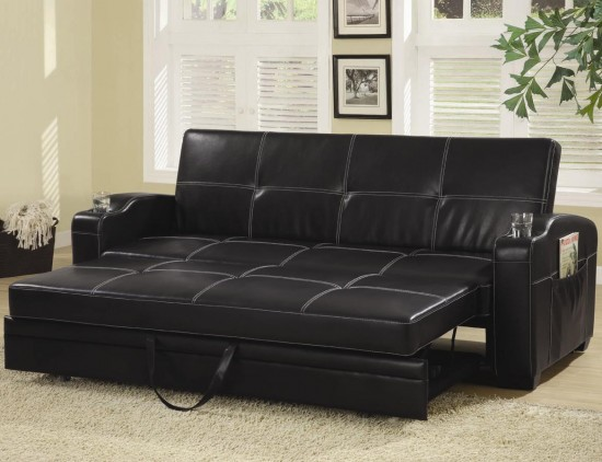 black leather sofa beds