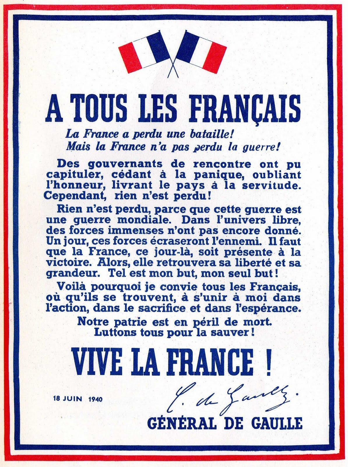 affiche du  18 juin 1940 par le général De Gaulle