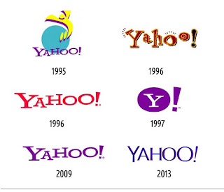 The evolution of the Yahoo logo over the years.