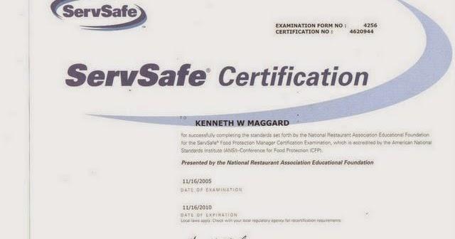 Ronald McDonald\'s Blog: My ServSafe Certification