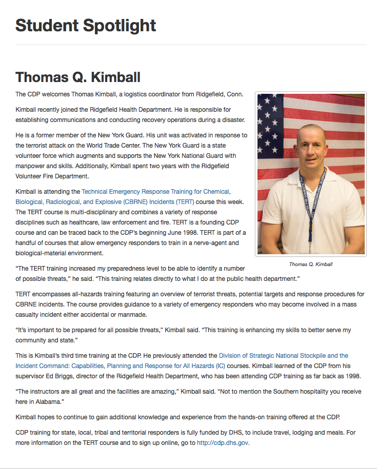 The CDP Center for Domestic Preparedness welcomes Thomas Kimball, a logistics coordinator