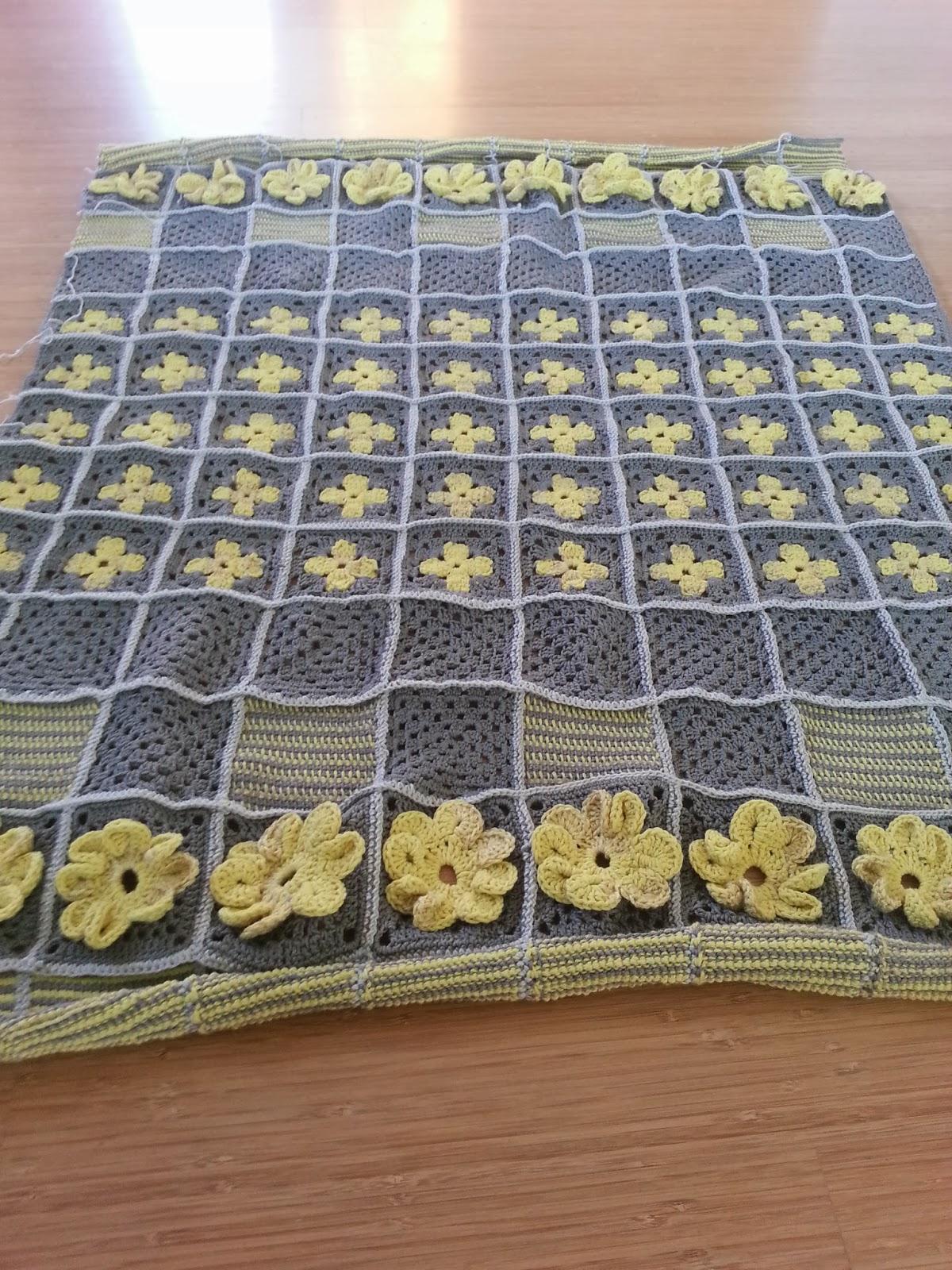 Granny Dekentje Grijs Fluo Geel Little Wendy Crochet