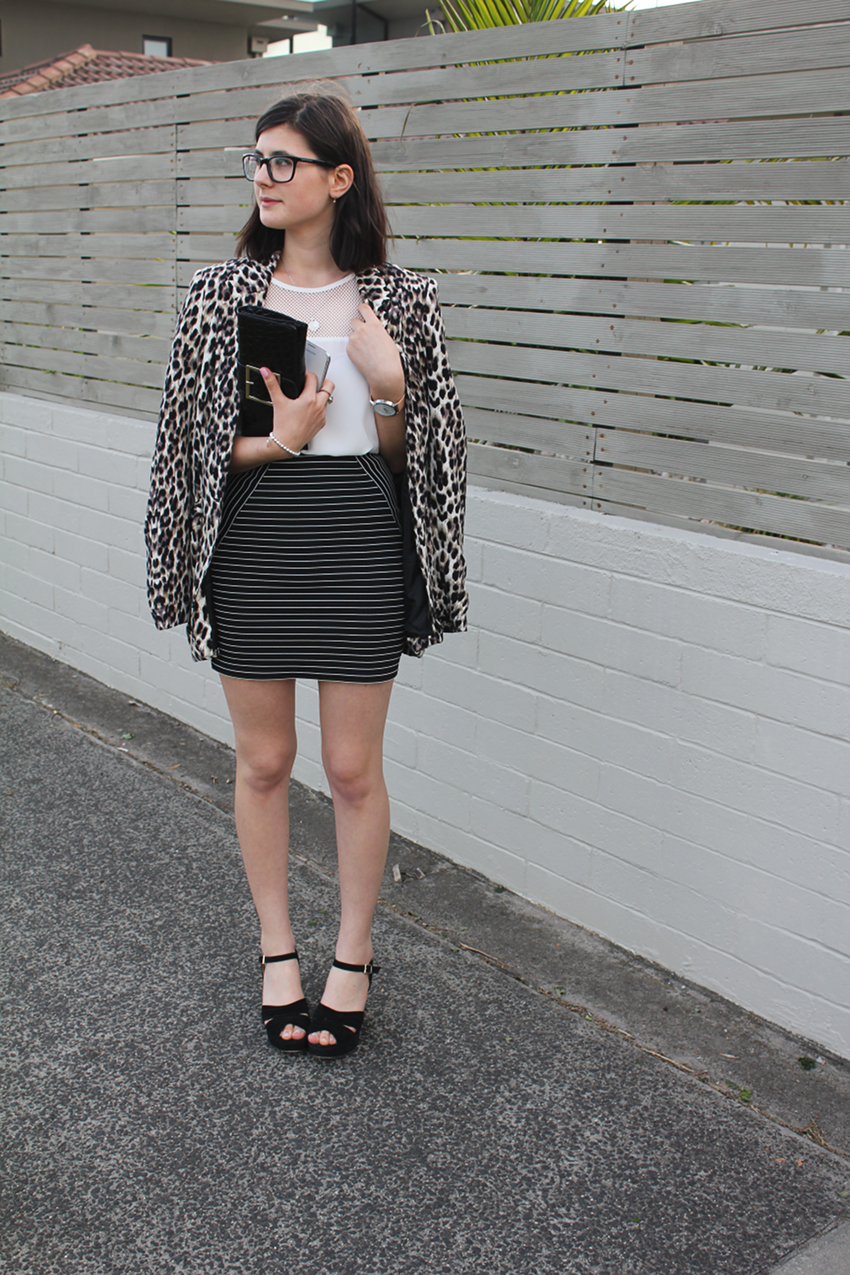 melbourne blogger, australian blogger, fashion blogger, trend, style, ivana petrovic, glasses, colette dinnigan, leopard print, leopard blazer, mesh, all white trend, ss 13/14, glassons, forever new, breton stripes, siren shoes, wedge sandals, work outfit inspiration, classy outfits, the horse watch