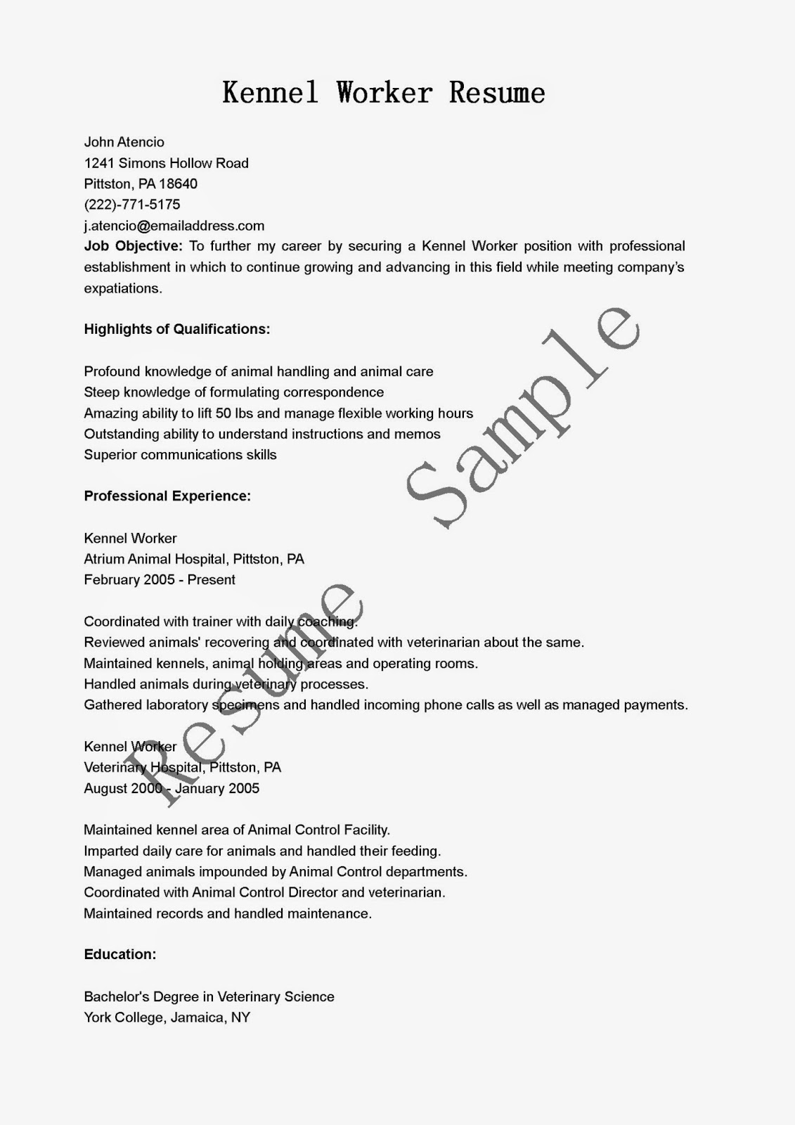 resume samples  kennel worker resume sample