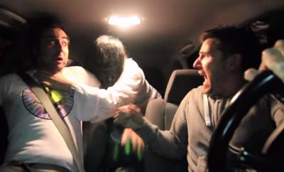 White Lady Terrorizes Guys In The Car