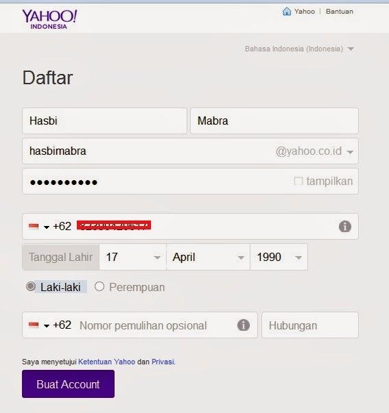 halaman untuk mengisi data-data email yahoo