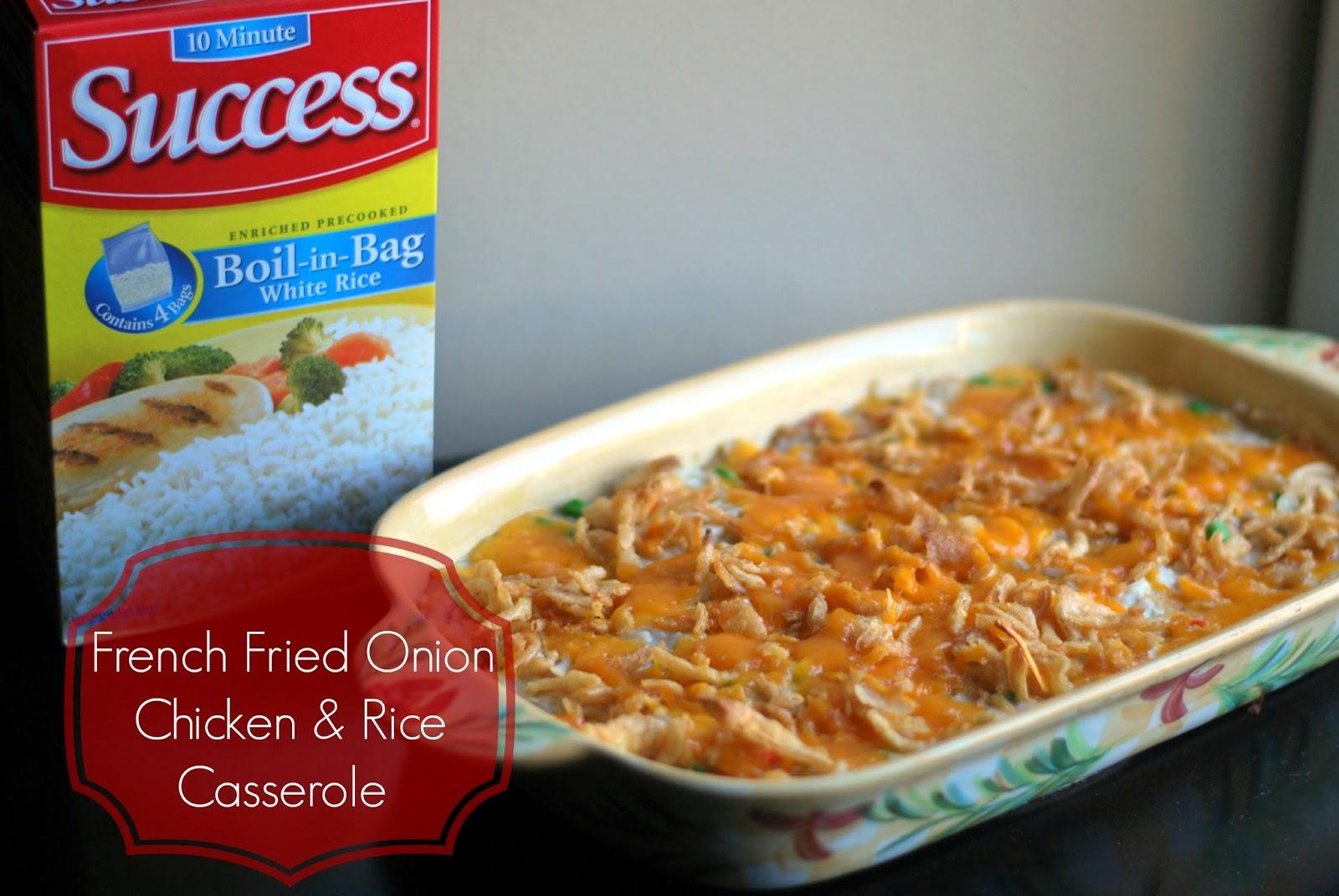 {French Fried Onion} Chicken & Rice Casserole