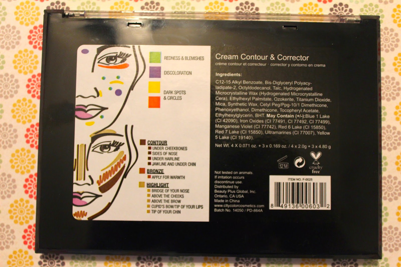Gussied Up City Color Contour Correct Cream Palette 2 I Included These Photos As Well So You Can See What The Back Of Looks Like It Has Ingredients Name And Also A Cool Chart That Explains