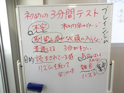 フォトリーディング集中講座で最初に行う読書テストの結果を共有した板書の写真