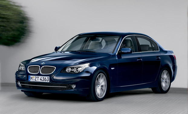 Blue BMW 5 Series Sedan