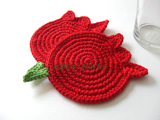 Crochet Coasters Red Tulips