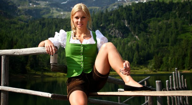 austrian olympic skier Anna Fenninger in sexy bavarian beer wench outfit