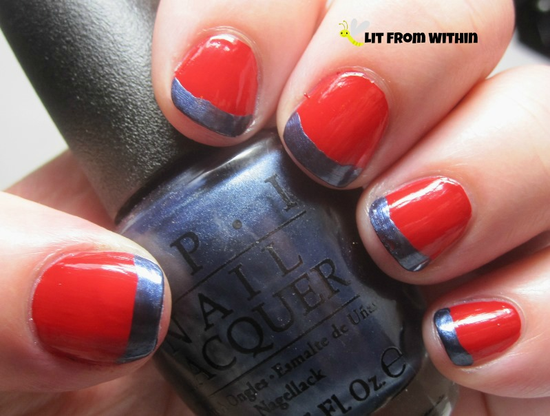 French tips with OPI Seventh Inning Stretch