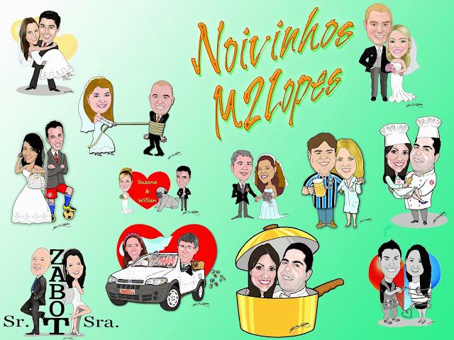 Noivos caricaturados pelo Caricaturista Marcelo Lopes de Lopes