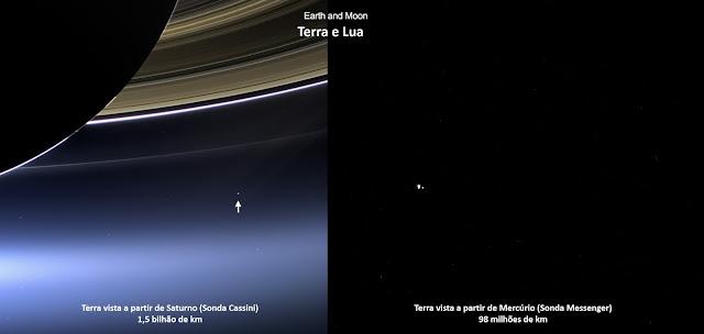 Terra vista de Saturno e Mercúrio