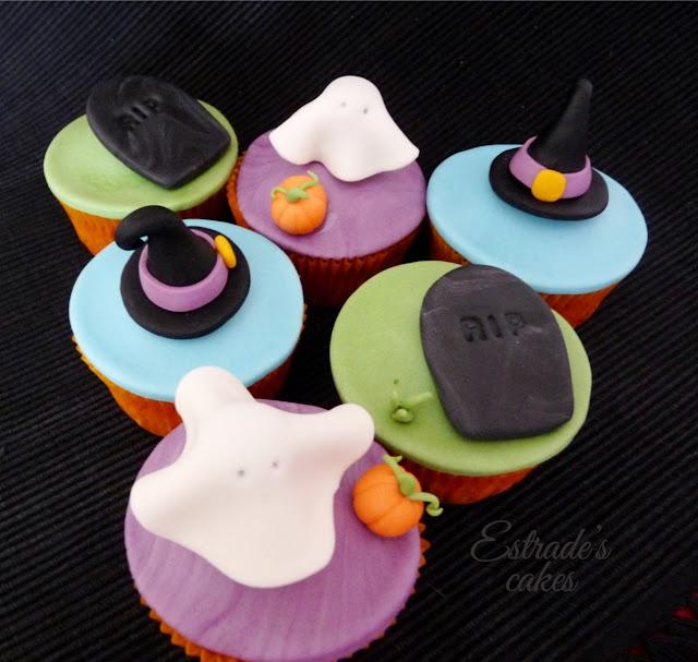 cupcakes de Halloween con fondant - 1