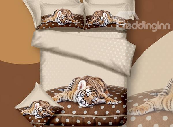 Lazy tiger 3d bedding set at Beddinginn