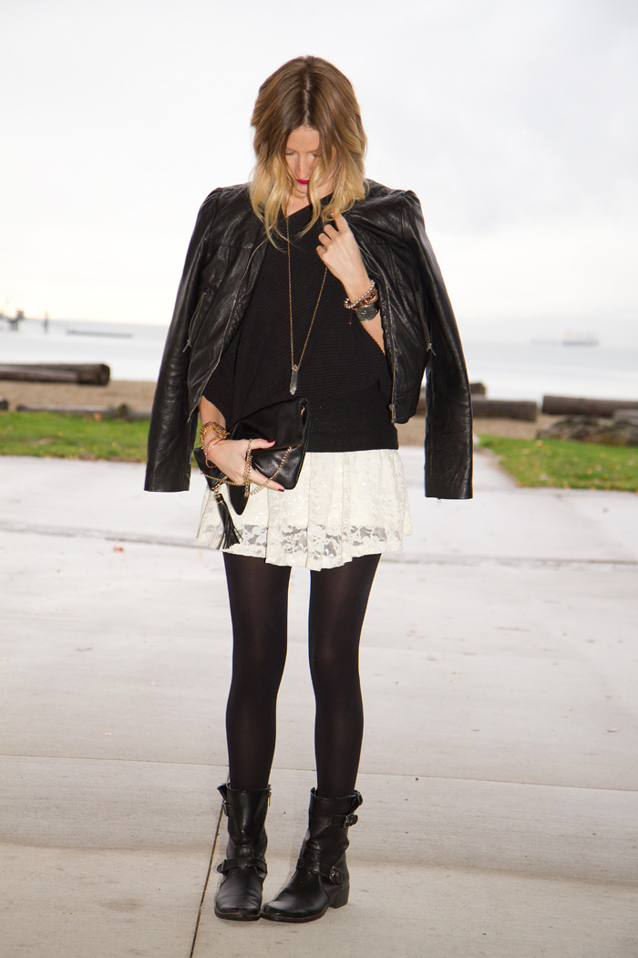 Vancouver Fashion Blogger, Alison Hutchinson, wearing Forever 21 black leather jacket, Club Monaco black maxi sweater, Aritzia white lace dress, Anne Klein black leather boots, True Worth Design crystal pendant necklace, and bead bracelets, Stella and Dot Renegade Cluster bracelet, Givenchy bangle, and MAC Diva lipstick