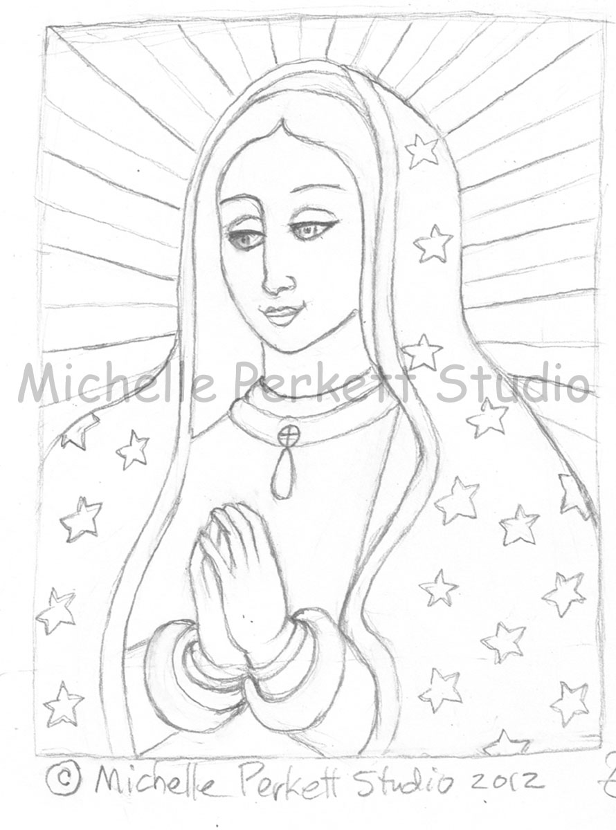 enchanted inspirations our lady of guadalupe sketch