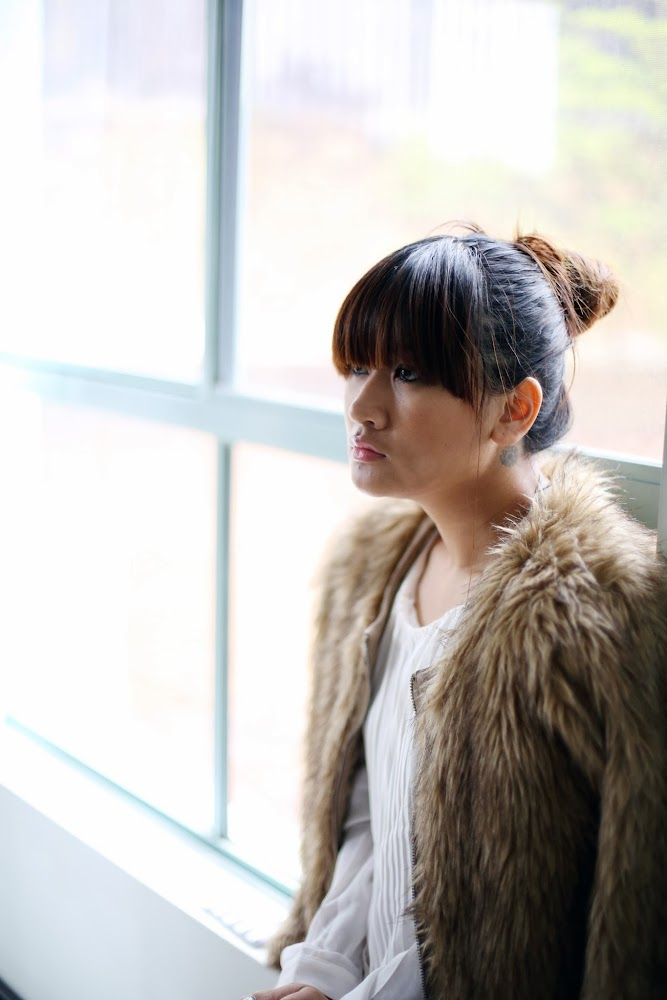 Nasty Gal Faux Fur Coat Brunette Hair Bun Lucy and The Runaways