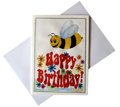bee,flowers,happy,birthday,greetingcard,forkids,cartoon,illustration,painted,handmade