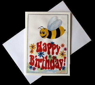 bee,flowers,happy,birthday,greetingcard,forkids,cartoon,illustration,painted,handmade