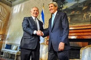 U.S. Secretary of State John Kerry shakes hands with Israeli Prime Minister Benjamin Netanyahu in Rome, Italy, on October 23, 2013.