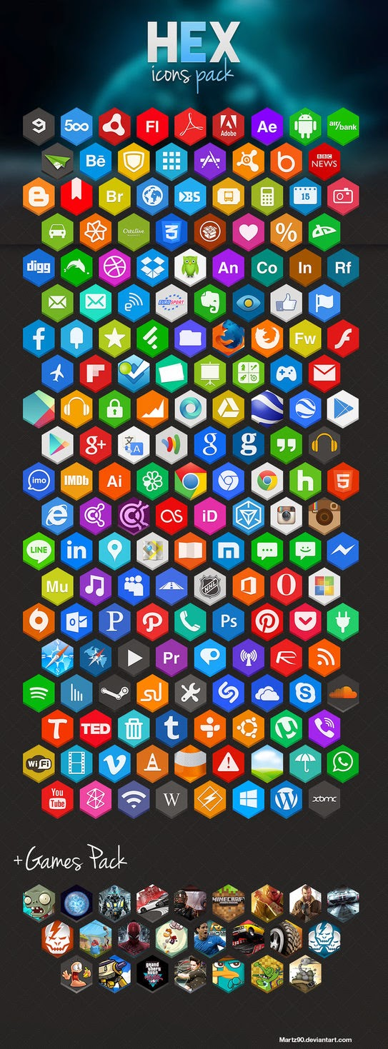 Hexagon Social Media Icons Pack