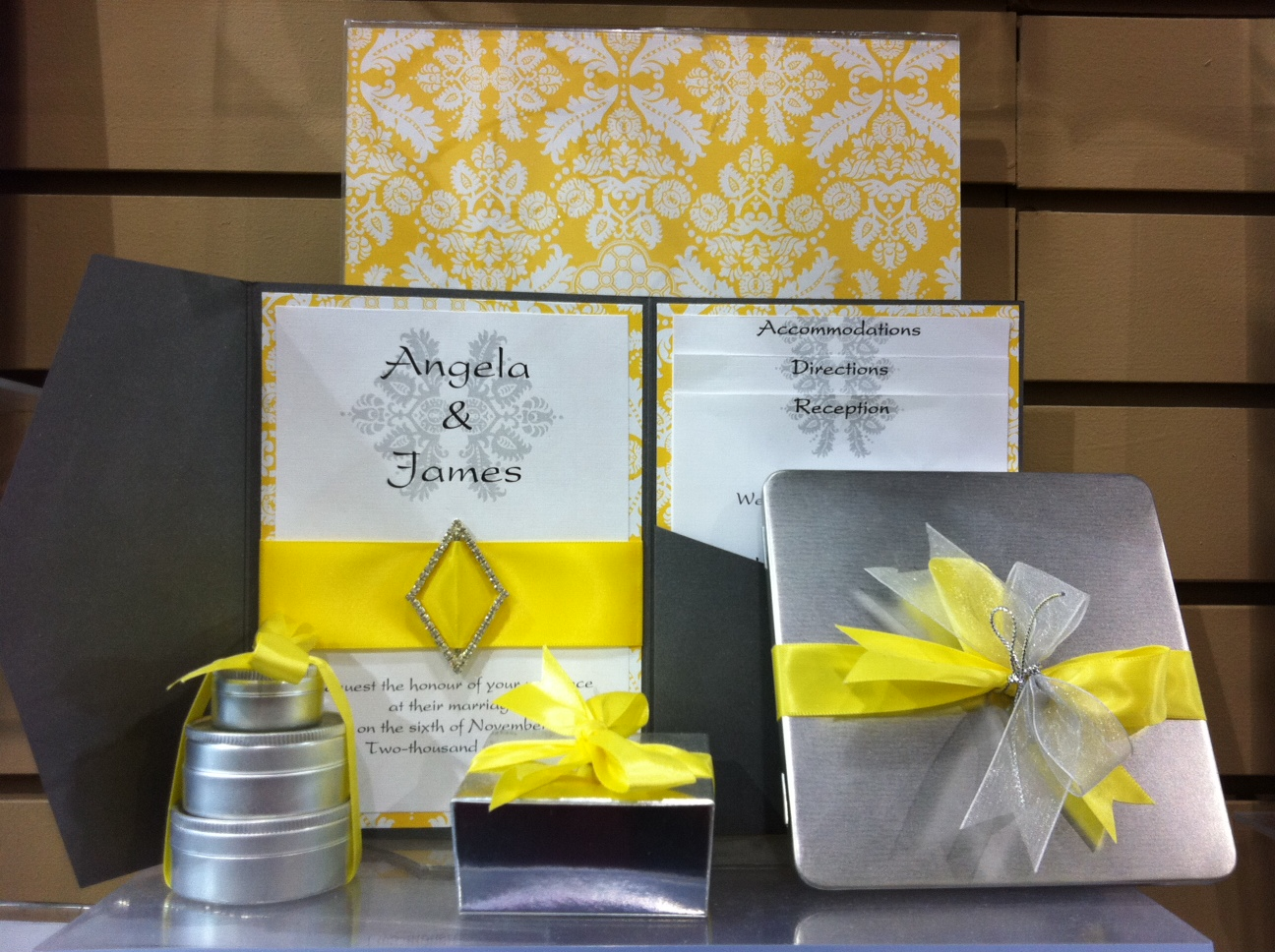 The Latest Trend in Wedding Favor & Invites - Yellow & Silver ...