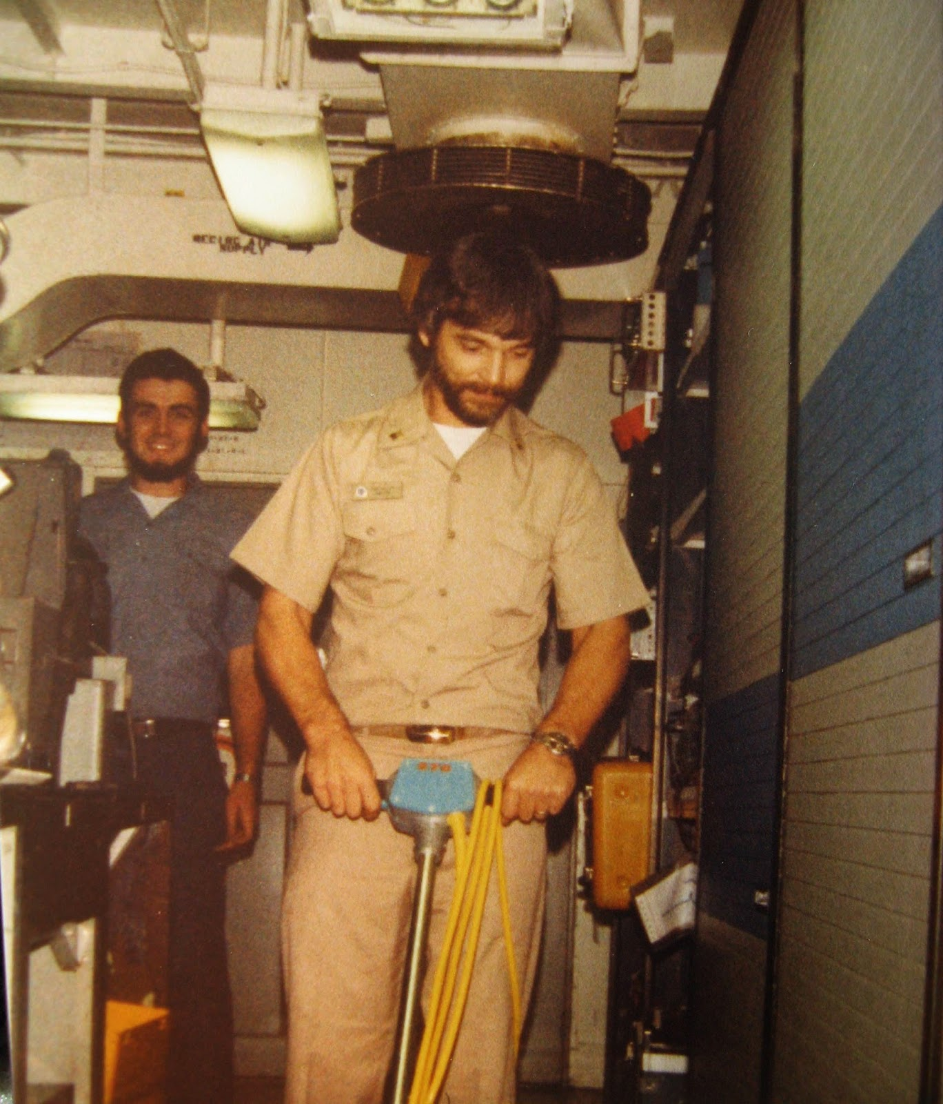 Jerry K. laughing as we fuck with Dan while getting the shop ready for inspection Nimitz 1983