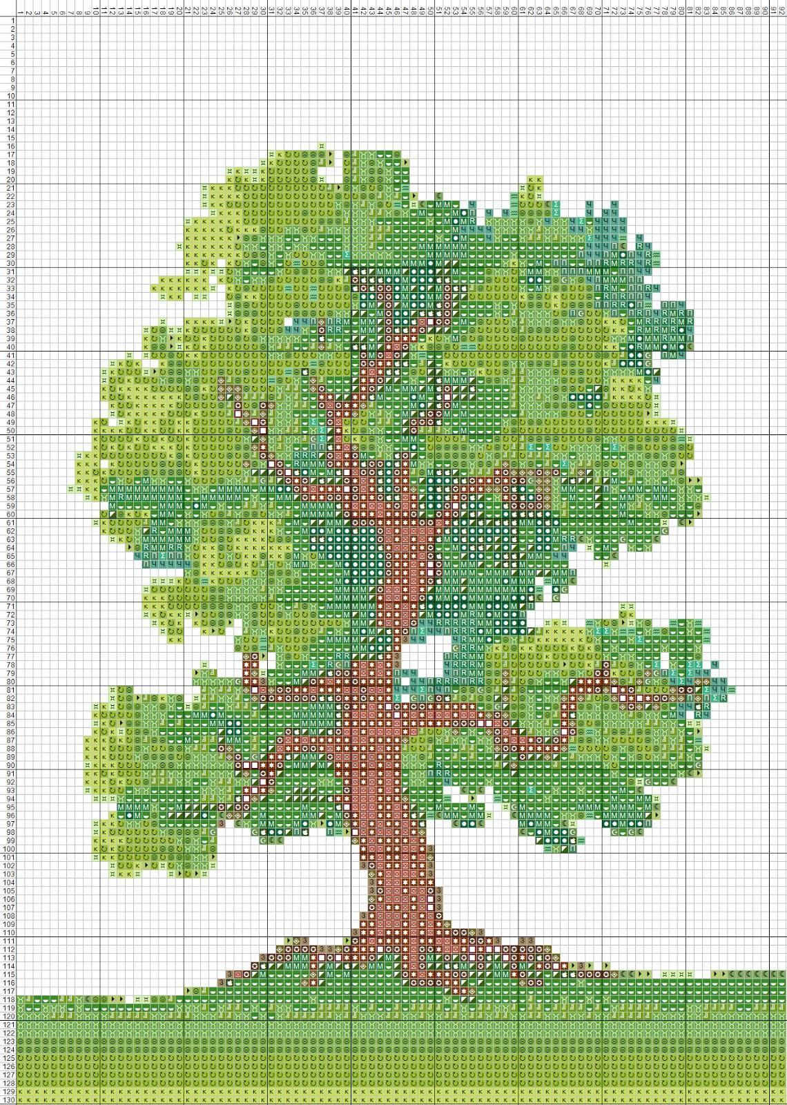 Вышивка дерево большое
