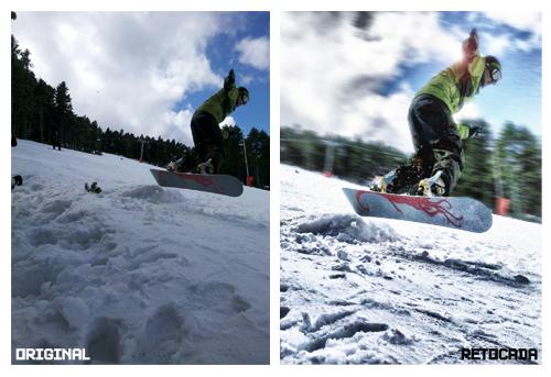 Snowboard: Original y retocada.