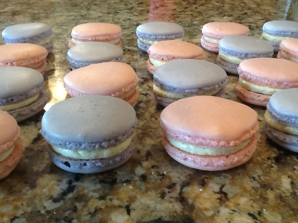 lavender and rose macaron shells with vanilla bean French buttercream ...