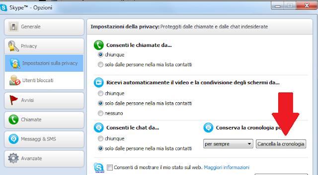 cancellare cronologia skype windows