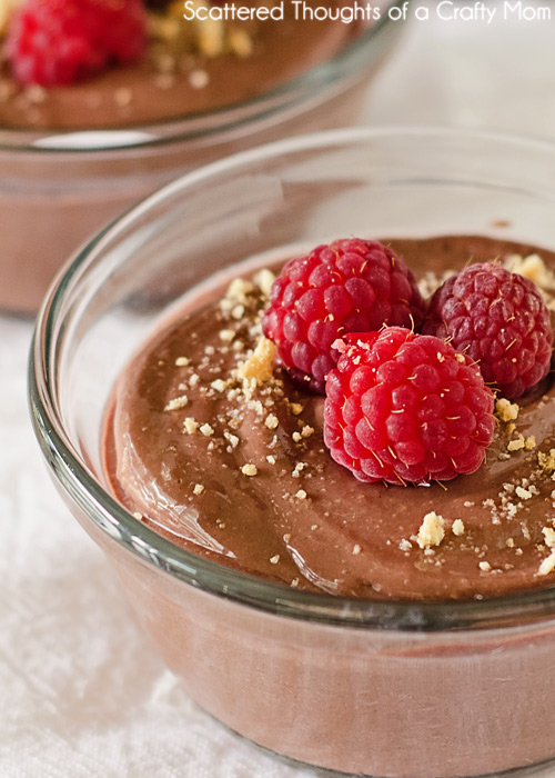 Skinny Chocolate Pie Cups- so creamy and thick with a wonderful raspberry chocolate flavor. Can you guess the secret ingredient? (Can be made dairy free if you use dairy free choc chips)