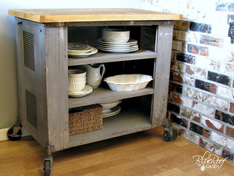 blue roof cabin: DIY Industrial Kitchen Island or Cart or Whatever