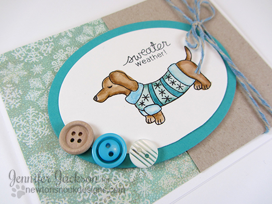 Sweater Weather Dachshund Card by Jennifer Jackson | Holiday Hounds Stamp Set by Newton's Nook Designs