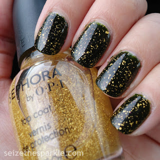 Sephora by OPI It's Real 18K Gold over Pahlish Stopped Watch