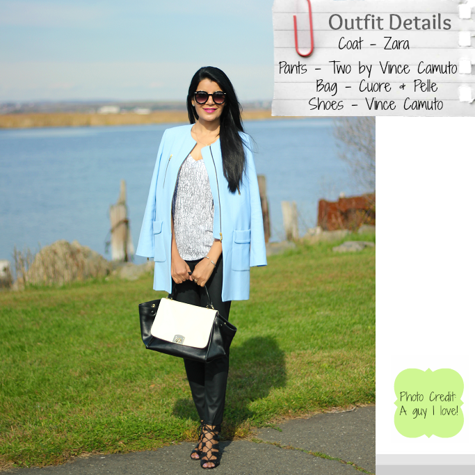 Zara Pastel Blue Coat, Zara Powder Blue Jacket, Powder Blue Coats, Vince Camuto lace up sandals