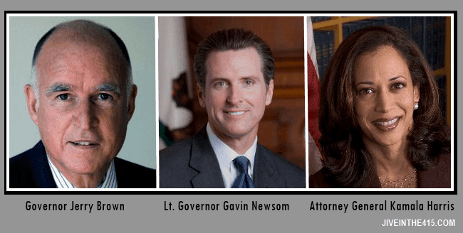 California Governor Jerry Brown, Lt. Governor Gavin Newsom, Attorney General Kamala Harris.