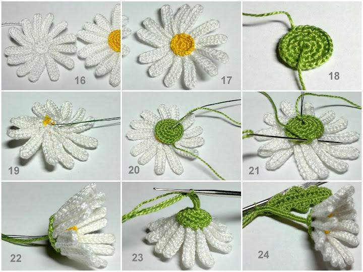 Вязание цветов крючком схемы ромашек