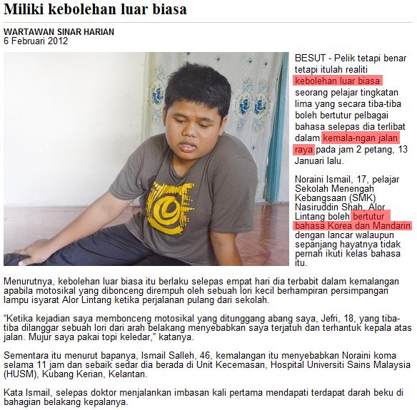 Remaja Bertutur Bahasa Asing Selepas Kemalangan