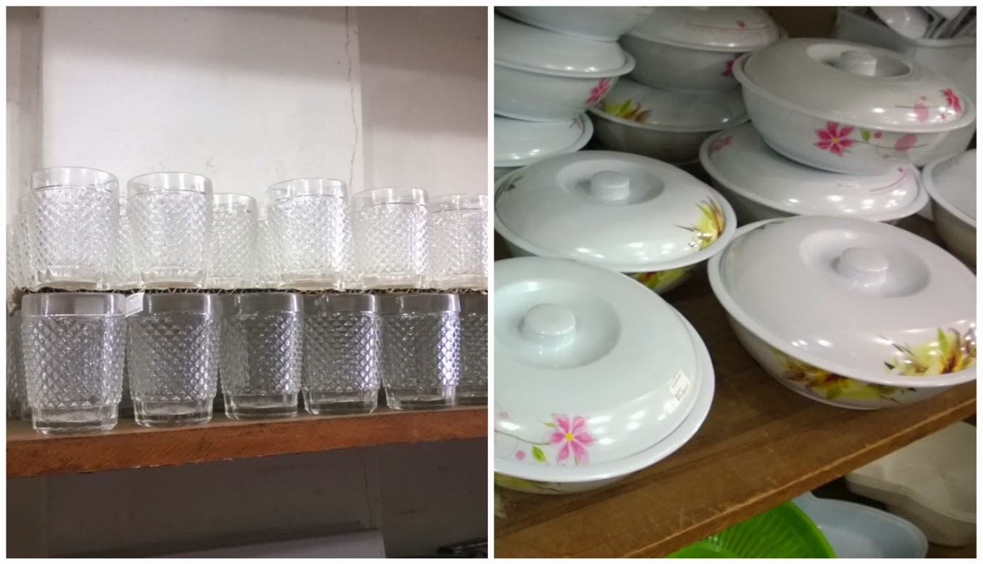 copos retrô e vasilhas