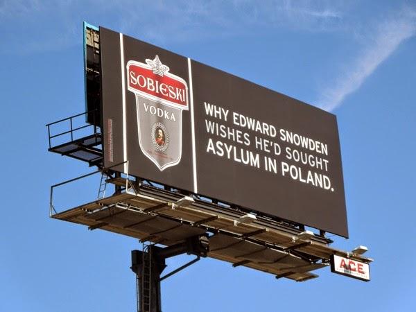 Sobieski Vodka Edward Snowden asylum Poland billboard